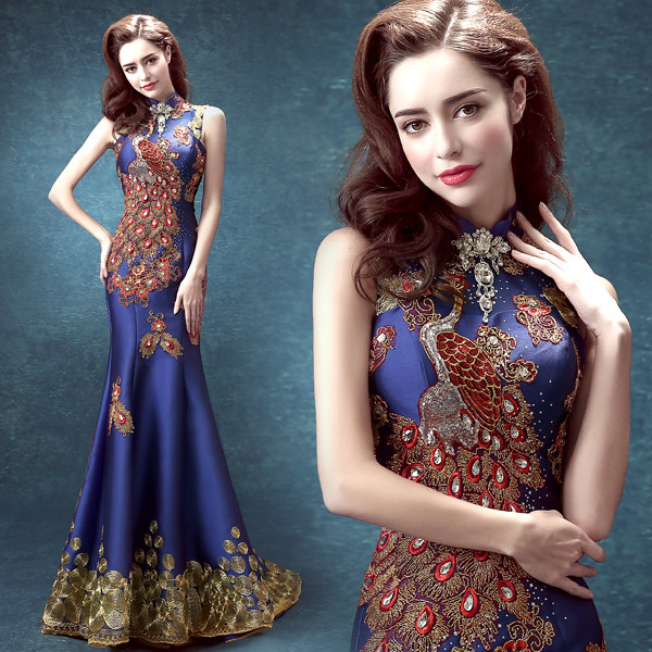 Online Shop traditional chinese wedding long dragon brocade gold ...