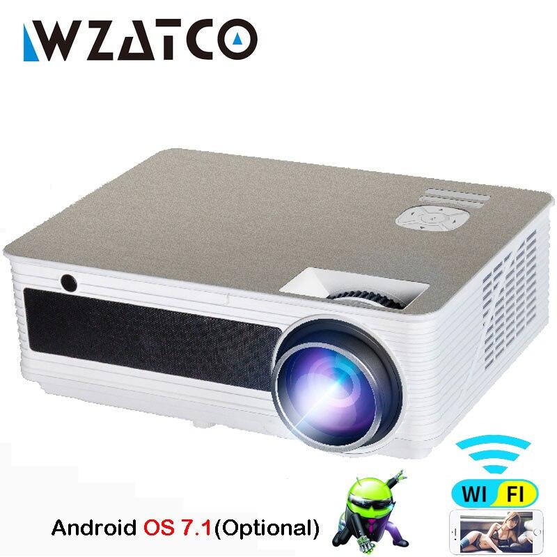 WZATCO M5 Home Theater HD ha condotto Il Proiettore di Sostegno 1080 p 5500 lumens Android 7.1 WiFi Opzionale Bluetooth Video gioco Beamer proyector