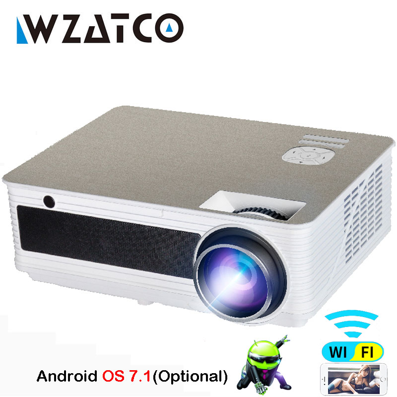 WZATCO Soutien 1080 p 5500 lumens HD Projecteur Android 7.1 WiFi Bluetooth Home Cinéma LED Jeu Vidéo Projecteur Beamer Proyector
