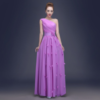 Sale Of 2015 New Elegant Chiffon Teenagers Coral Bridesmaid Dresses One Shoulder With Flower Long Wedding