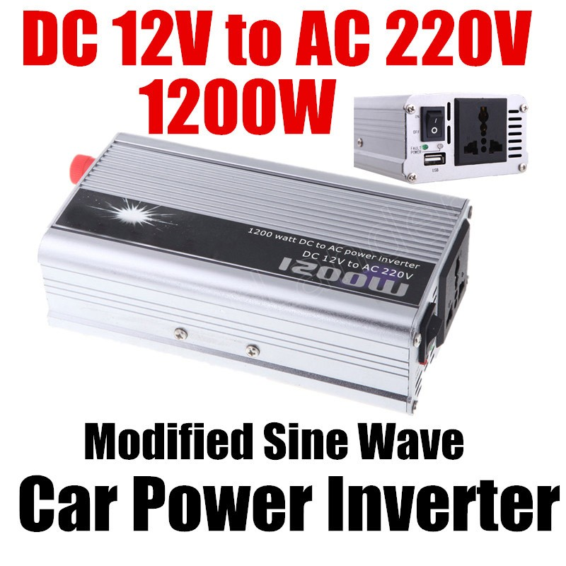 1200W WATT DC <font><b>12V</b></font> <font><b>to</b></font> AC <font><b>220V</b></font> Portable <font><b>Car</b></font> Auto Vehicle Voltage Power Inverter converter <font><b>Adapter</b></font> Charger Converter Transformer image