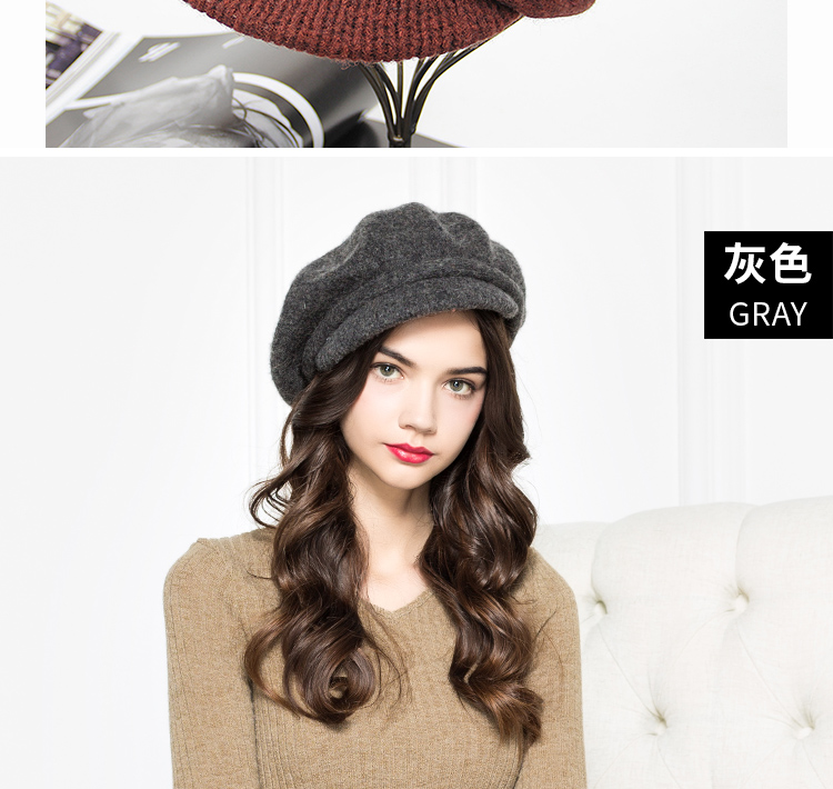 298d96e3ccfa1 ... Newsboy Caps  Gender  Women  Department Name  Adult  Pattern Type   Solid  Style  Casual  Material  Wool. Product Description