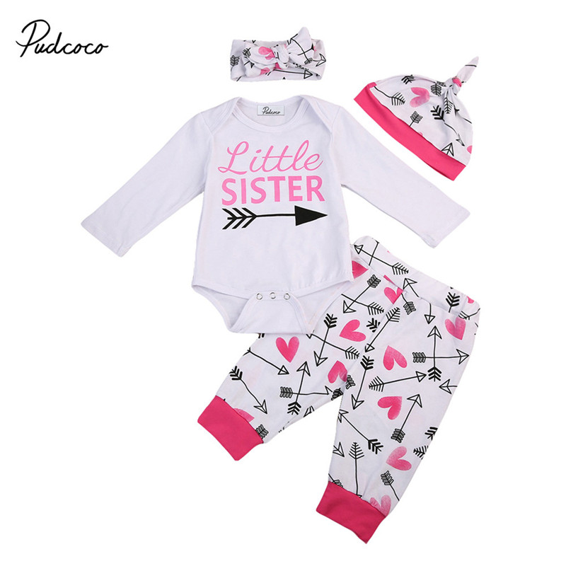 0 to 18M New Style Newborn Baby Girls Clothes Litter Sister Long Sleeve Romper+Pants+Hat+Headdress 4pcs Baby Clothing Set