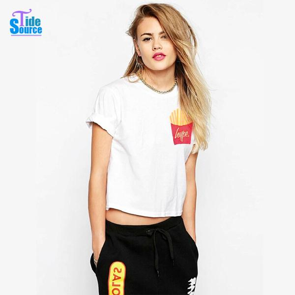 cfb53a7f3a5a40 2017 New French Fries Printed T shirt Women Casual White Crop Top Girl  Women Tops Short Rolled up Sleeve Cotton Cropped T Shirts