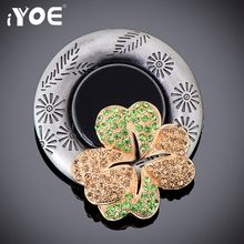 IYOE Fashion Large Style Black Vintage Brooch for Women Silver Plated Clover Rhinestone Brooches and Pins Collar Accessories(China)
