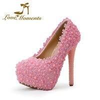 2016 Handmade Sweet Wedding Shoes Pink Flowers Pearl Beading Bridal High Heels Shoes Bridal Dress Shoes