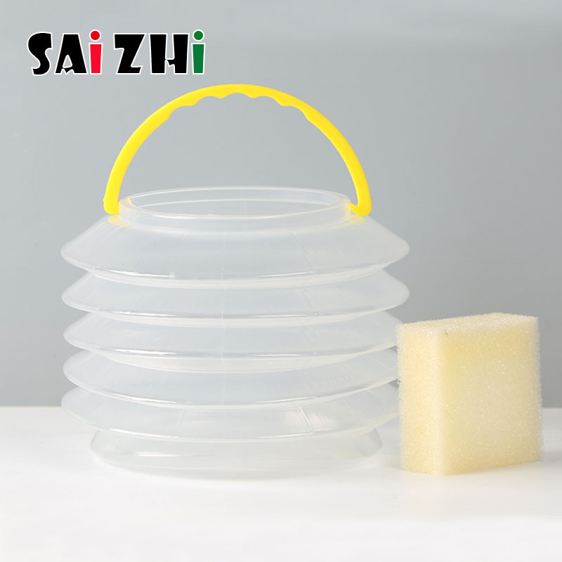 Saizhi 10*9.5cm Portable Foldable Painting Brushes Holder Cleaning Case Washing Pen Bucket SZ3153