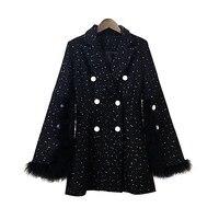 2017 Fashion Streetwear Split Button Fur Sleeve Tweed Coat Women Office Lady Double Breasted Coat