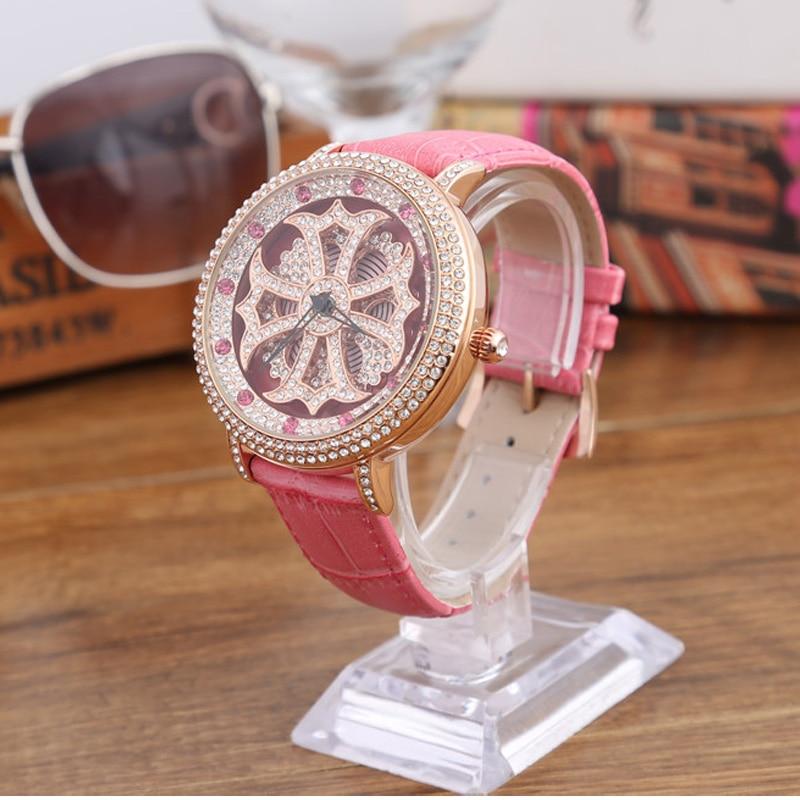 High Luxury Fashion Women Watch Ladies Pierced Crystal Wristwatches Full Diamond Mother's Day Gift Watch Genuine Leather Strap pierced
