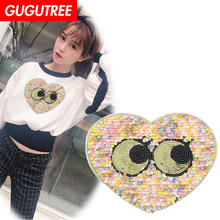 GUGUTREE embroidery Sequins big love heart patches eyes badges applique for clothing XC-88
