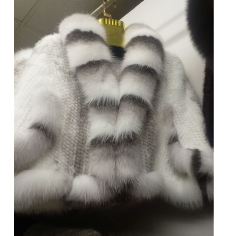 ZY87004-1  Winter Women's Genuine Knitted Mink Fur Shawls With Fox Fur Collar Capes Bat Sleeve Bridal Wraps Outerwear Coats