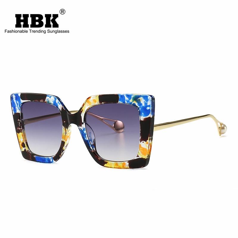 Floral Sunglasses Pearl Cat-Eye Classic Blue Ladies Women Luxury Brand Designer UV400