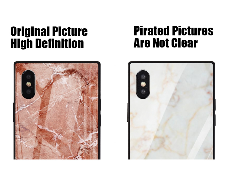 TOMKAS Black Luxury Marble Phone Case for iPhone 6 6s X Xs Glass Back Cover Case for iPhone 7 8 Plus Silicone Square Shockproof  (33)