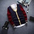 Para Hombre primavera Y Otoño Suéter chaqueta de PUNTO de Cuello V PARA HOMBRE de Manga Larga de Color Suéter Cardigan Marea Costura Knit Cardigan