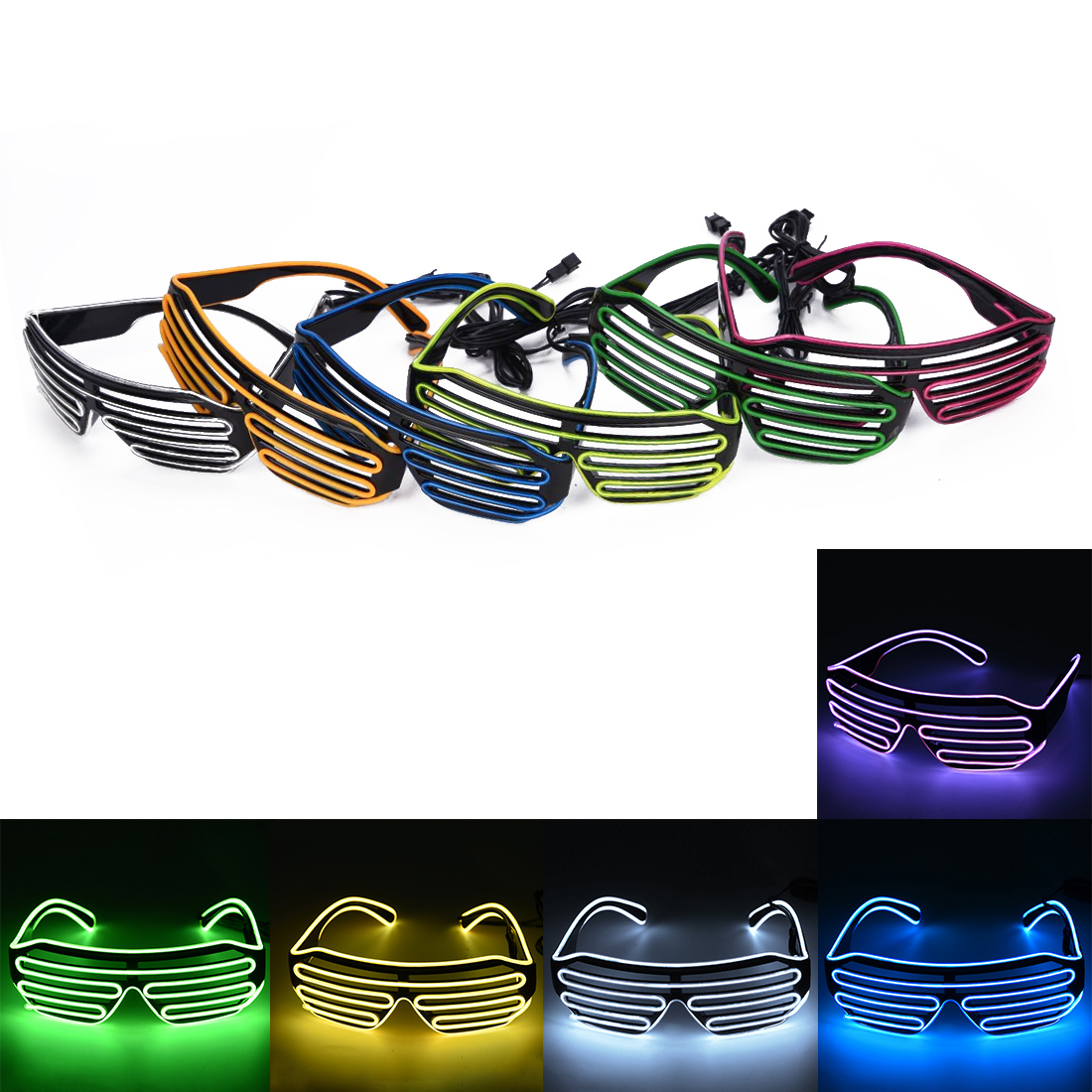 Forceful 5 Colors Flaring Glasses Bar Party Fluorescent Dance Dj Bright Glasses El Wire Led Light Glow Rave Atmosphere Activing Props 100% Original Apparel Accessories