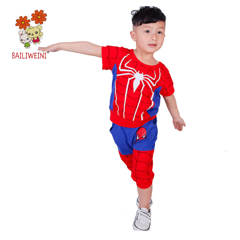 Summer Spider-Man Baby Boy Short-sleeved Suit Boys Cartoon Set Clothing Cosplay Boy Spider Man  Sport Suits  3 To 14 YearsSummer Spider-Man Baby Boy Short-sleeved Suit Boys Cartoon Set Clothing Cosplay Boy Spider Man  Sport Suits  3 To 14 Years