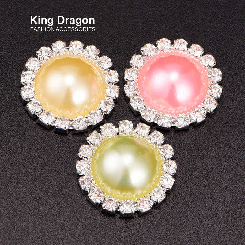 Rhinestone Pearl Button Used On Invitation Card Crystal Embellishment 20MM Silver Color 3colors Mixed