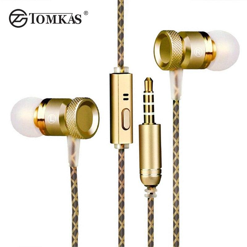 Tomkas en oído auricular con cable de micrófono de metal super bass auriculares