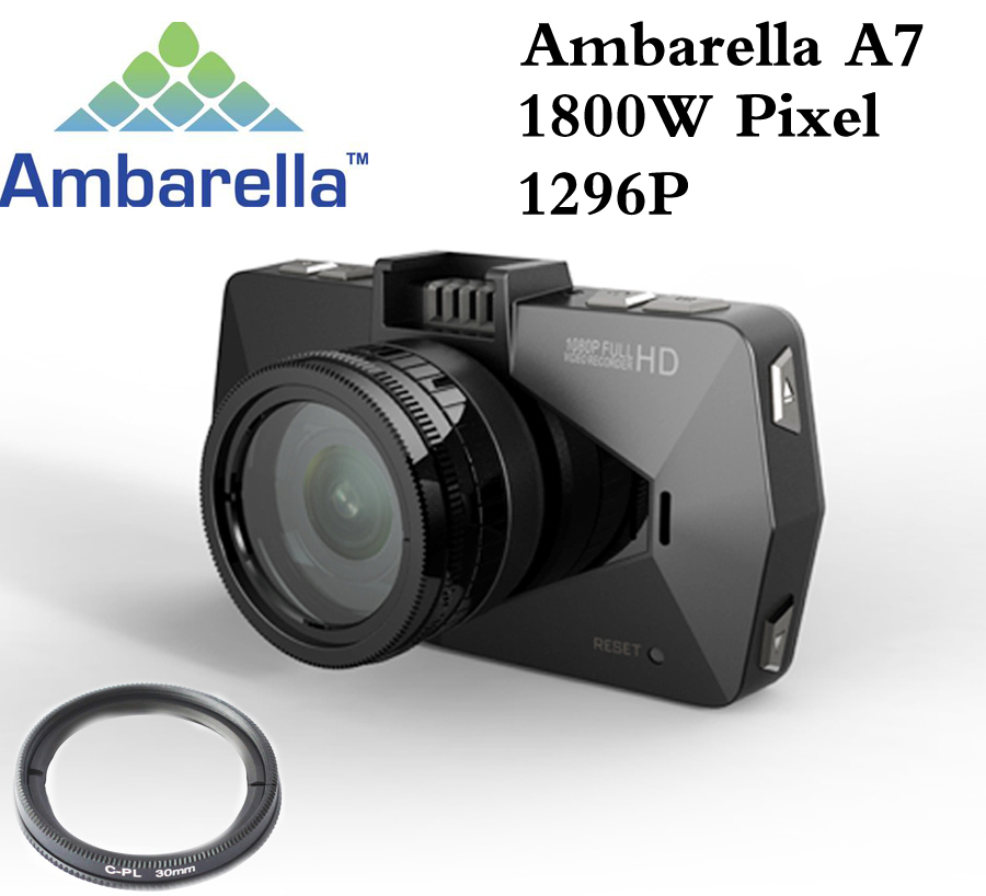 Best camera Ambarella A7 LA70 Car DVR Video Recorder Full HD 1296P GPS Logger Night Vision polarizing CPL Filter Support 64G