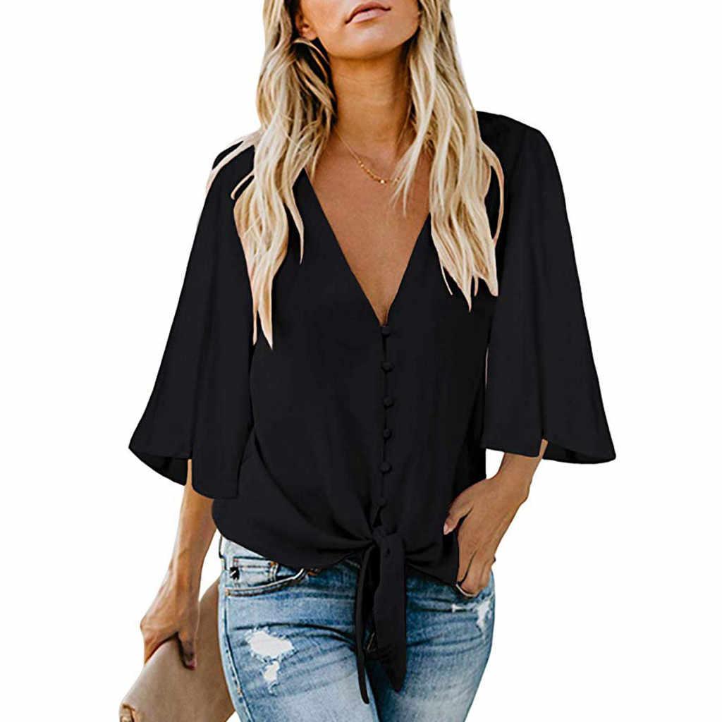 Üç Çeyrek Kollu V Boyun Düğmesi Yamalar 2019 Yaz Üstleri Kadın Tarzı Gömlek Feminina beyaz Seksi kısa üst Parfüm t Shirt