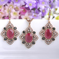 Turkish Flower Pendants Princess Hooks Coral Brincos Retro Loyal Vintage Jewelry Sets Turkey Women Necklace Earrings Set Joias