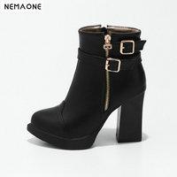 NEMAONE New high heels platform women Boots Punk Women Autumn 10cm Thick Heel Ankle Boots black green gun Shoes woman