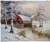 Campagna Scenario pastorale il inverno Snow Village pittura a olio dipinta a Mano moderna arte della parete casa decorativa su tela