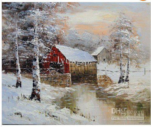 Pastoral Countryside Scenery The Winter Snow Village Hand
