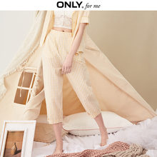 ONLY Women's Loose Fit High-rise Wide-leg 100% Cotton Checked Pajama Pants | 119114507(China)