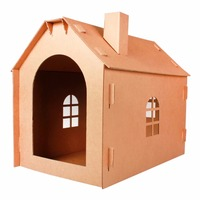 Carton box DIY Corrugated paper cat house playground cat scratch board toys Small house shape corrugated paper