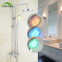 Solid Brass Bathroom Shower Faucet Double Handles 8 Inch LED Rainfall Shower Head With LED Hand