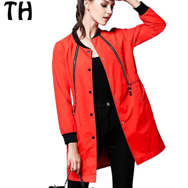 2016 Outono Plus Size Casaco de Trincheira Para As Mulheres Zíper Coberto Botão Slim Fit Blusão Outerwear Casaco Feminino #161414