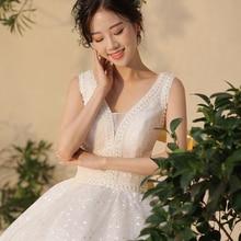 French bride wedding dress 2019 new v-neck star super fairy luxury Qi long section Sen dream