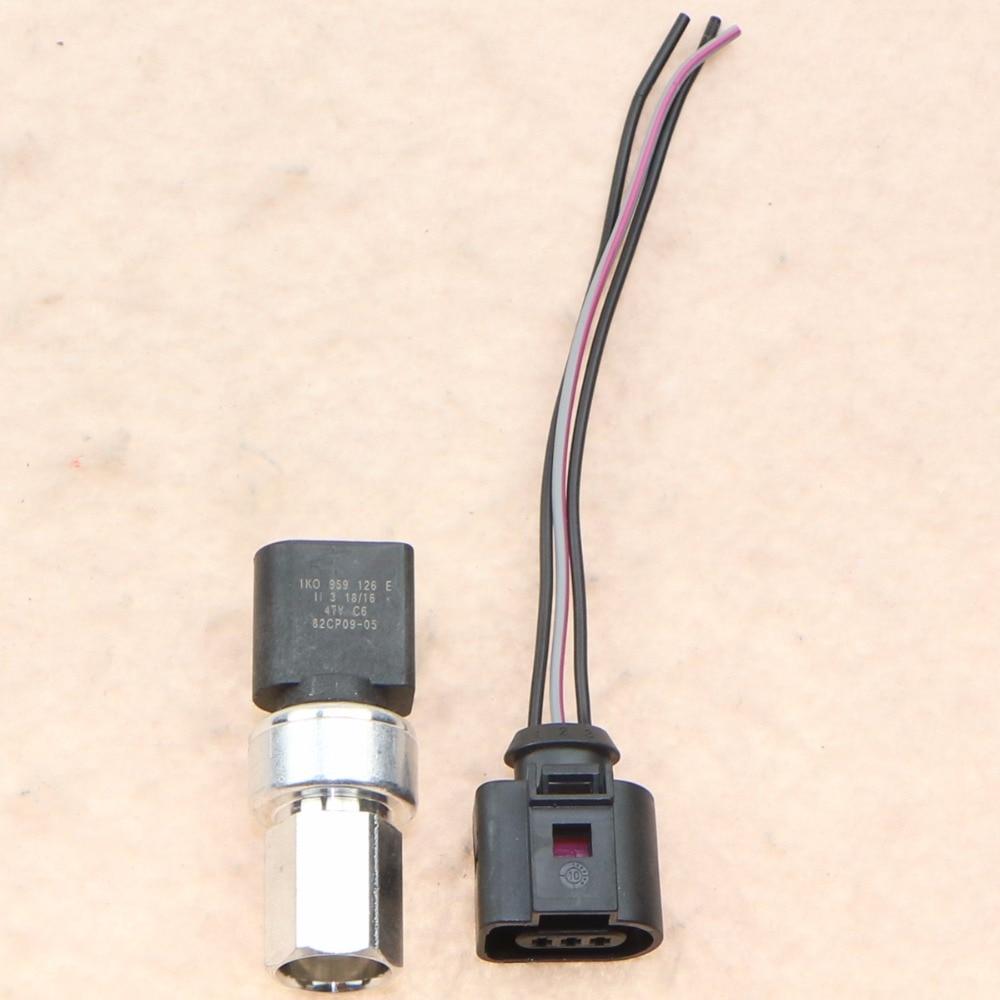 Air Conditioning Pipe Pressure Sensor Switch + Cable Harness Plug For etta Golf Passat Touareg A3 TT 1K0959126E 3B0973703G