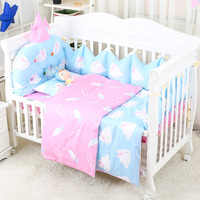 7 pcs/set Crib Bedding For Newborn Lovely Pattern Baby Bedding Set Infant Crib Bumper Kids Cot Suit Kit Baby Girl Boy Bed Items