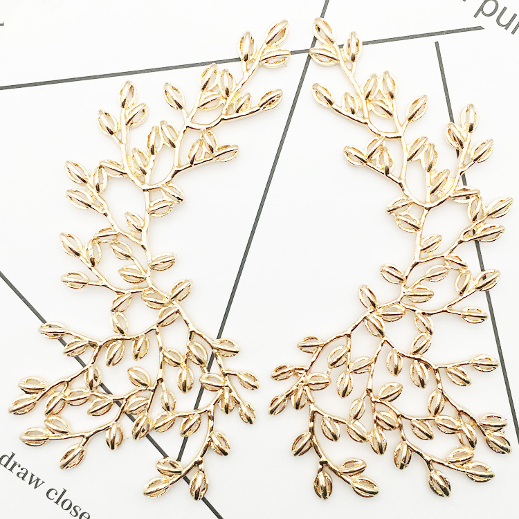 Jewelry Findings Components Gold Leaf Charm For Diy Jewelry Making Supplies Bride Headwear Wedding Decoratio Hand Made Materials