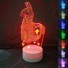 Hot Game Alpaca 3d Table Lamp Touch Usb Led Night Lights Home Decor 7 Color Change Desk for Kids Xmas Gifts