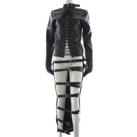 Sex bandage Adult Couple Games Faux/PU Leather Black Leather Unisex Full Body Suit Jacket Gimp Sleep Sack Straight Restraints