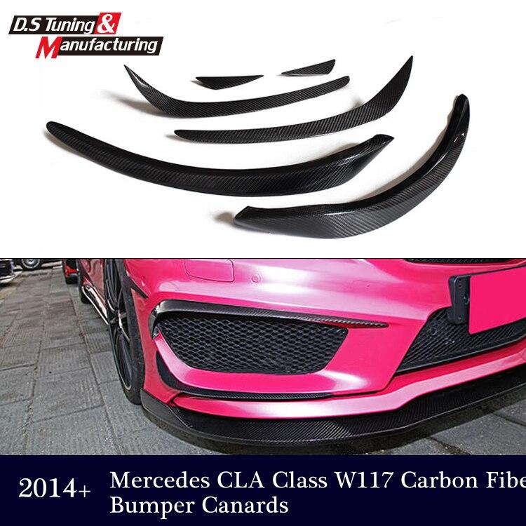 Mercedes W117 Fiber De Carbone Canards Pare-Choc Pour Benz Classe CLA W117 CLA 200 2014 + CLA 200 CLA180 CLA250 Splitter Rabat Canard