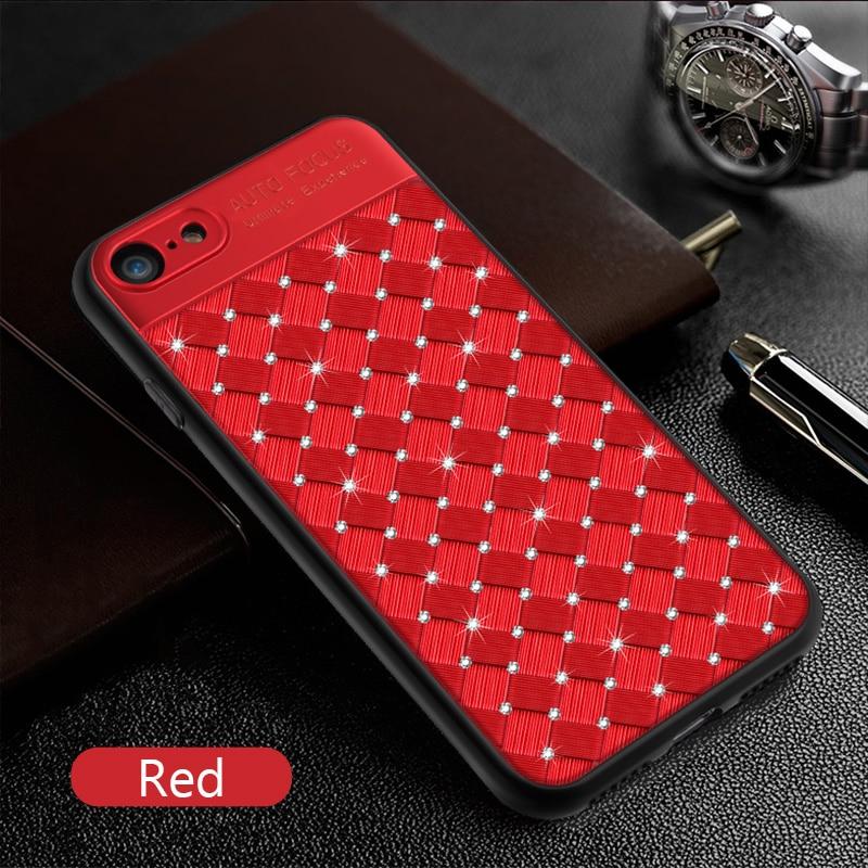 KIP71246R_1_Rhinestone Glitter Case for iPhone 6S 7 8 Plus XS XR XS Max Soft TPU Diamonds Weaving Protection Back Cover