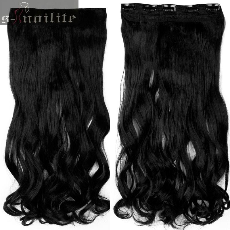 S-noilite, 18-28 дюймов, длинные волосы на заколках для наращивания, 1 шт., синтетические, настоящие натуральные волосы, 3/4, на всю голову, черный, коричневый - Цвет: #1