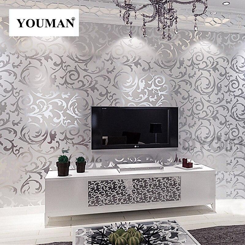 US $35.48 8% OFF Tapeten Youman 3D Blätter Muster Luxus Grau Strukturierte  Moderne Grau Vinyl Rollen Wohnzimmer Schlafzimmer Hintergrund Home Decor-in  ...