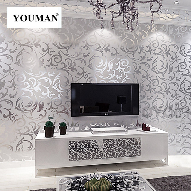 Wallpapers Youman Leaves Pattern Luxury Grey Textured Modern Gray Vinyl Rolls Living Room Bedroom Background