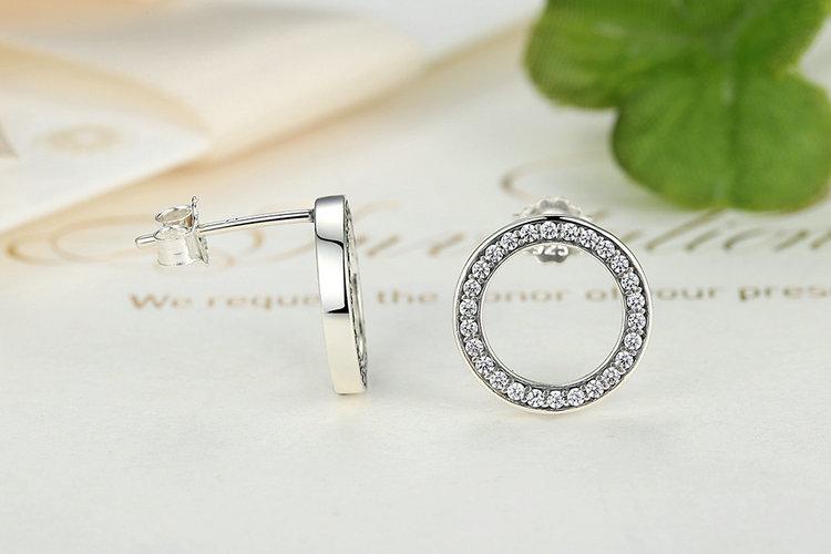 Minimalistic Silver and Crystal Round Women's Stud Earrings Earrings Jewelry Women Jewelry