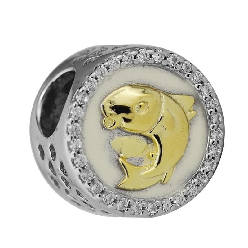 Adapte pour Pandora Charms Bracelets Chanceux Carpe Perles avec La Lumière Jaune Or Couleur 100% 925 Bijoux En Argent Sterling Livraison Gratuite