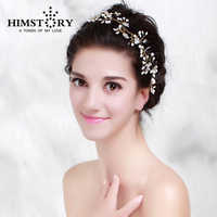 HIMSTORY Handmade Bride Golden Crystal Pearl Flower Hairband Wedding Hair Accessories Luxury Tiara Bridal Headband