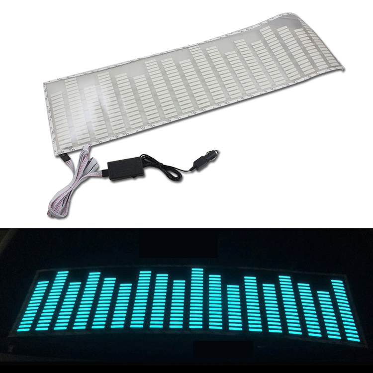 90x25cm Crystal blue LED Sound Music Activated EL Car Stickers Equalizer Glow Flash Panel Light Flashing Music Rhythm Light Lamp car sound control sensor music rhythm led colorful light lamp 70 x 16cm