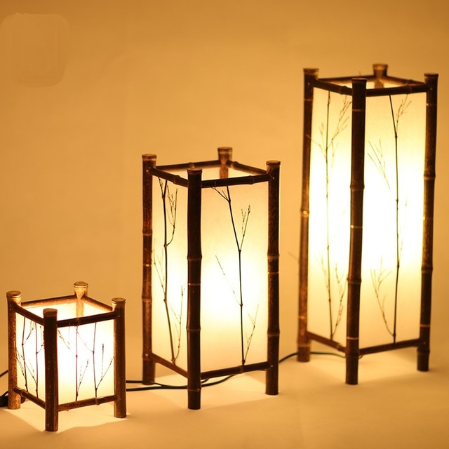 Wionwner Bamboo Lamp And Floor Lamps Dining Room Bedroom Table Lamp Japanese  Tatami Bamboo Chinese Style
