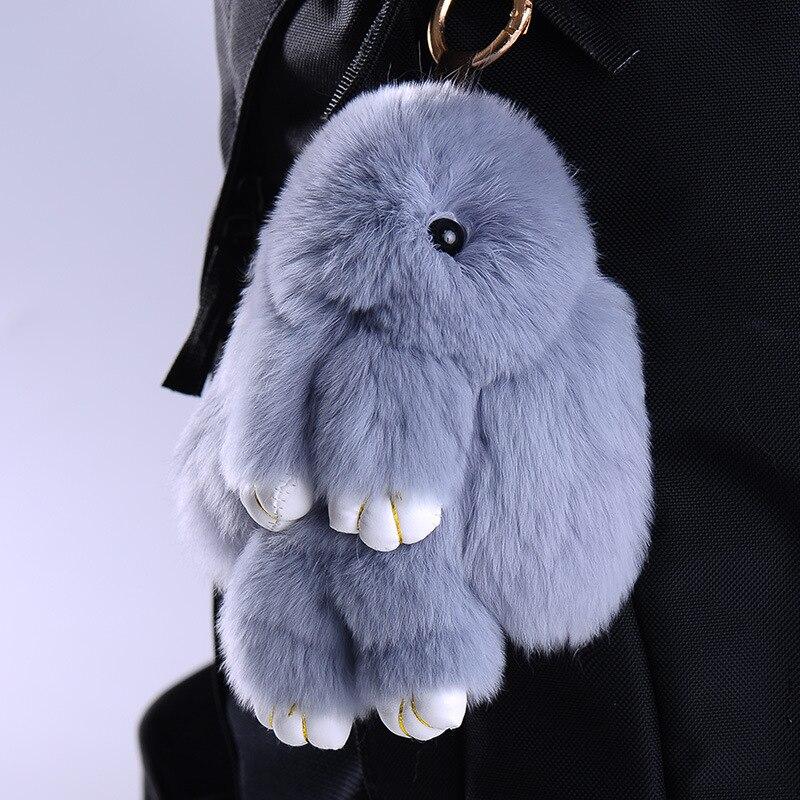 Cute Kawaii Keychain Rabbit Fur Plush Keychain Women Trinket Hare Car Key Holder Dolls Bag Charms Gift Plush Toys For Children