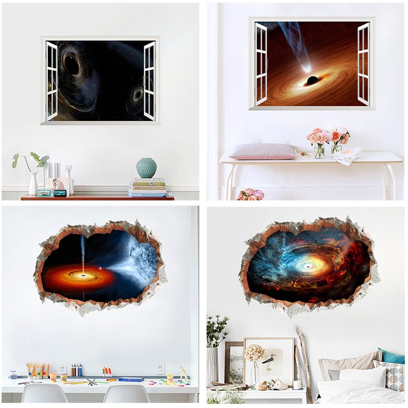 3d Effect Universe Black Hole Nebula Wall Stickers Home Decor Living Room 45*60cm Scenery Decals Pvc Posters Diy Mural Art